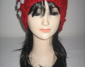Hat chunky yarn 100% Merino Wool with organza flowers