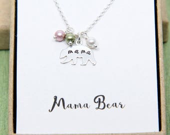 Mama Bear Necklace, Personalized Mama Bear Necklace, Sterling Silver Bear, Mom Birthstone Jewelry, Kids birthstone necklace, Mother Necklace