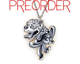 PREORDER - Ornamental Pitbull Necklace - Filigree Pit Bull in Black and Grey
