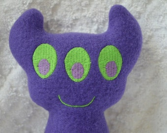 Handmade Stuffed Purple Horned Monster - Fleece, Child Friendly machine washable softie plush