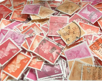 Red, Pink & Orange Stamps - used postage stamp mix, British Machin stamps, postal ephemera - crafting, collage, decoupage, upcycle, collect