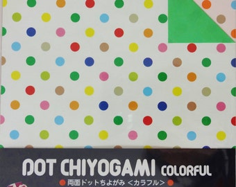 Origami Paper - double-sided polkadot paper - 36 sheets of two-sided 15x15 cm Japanese origami paper