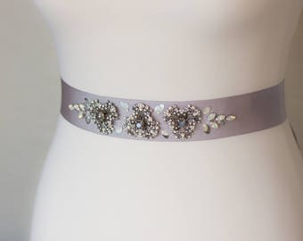 Gray Bridal Sash, Bridal sash, Gray wedding sashes belts, Floral sash, Silver wedding, Gray wedding