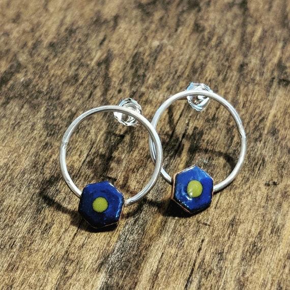 Sterling and enamel earrings- hexagon