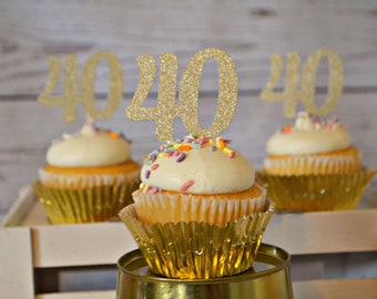 40th Birthday Cupcake Toppers. 40 Cupcake Toppers. 40. 40th Birthday Party Decorations. 40th Birthday Decor. Forty. 40th Birthday Ideas.