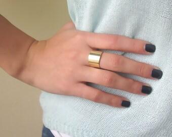Wide Gold Band Ring - Wide Band Ring - Gold Ring - Gold Cuff Ring - Gold Wide Ring - Gold Band Ring - Adjustable Ring - Statement Ring