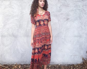 Jasmine vintage rayon long print s/s dress made in India (s) camels, elephants, lions