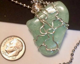 Aquamarine Big Stone Pendant Wire Wrapped Necklace