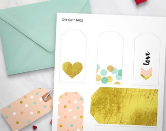 Printable Gift Tags Set of 6 - Gold Love Heart Design, Valentines Day, Gift Wrapping, printable swing tags, printable stationery, love tags