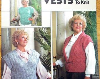 Full Figure Vest Knitting Pattern Leisure Arts Leaflet 547