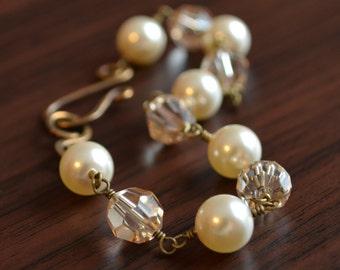 Ivory Pearl and Crystal Bracelet, Bridal, Wedding Jewelry, Antiqued Brass, Genuine Swarovski, Golden Shadow, Wire Wrapped