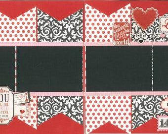 12x12 LOVE scrapbook page kit, premade scrapbook kit, 12x12 premade page kit, premade scrapbook pages, 12x12 scrapbook layout