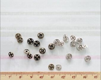 Super Tiny Snap Fastener 5 mm 24 sets Antique Brass / Nickel Color