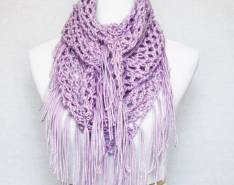 Purple Boho Crochet Fringe Scarf, Mesh Triangle Scarf, Handmade Crochet Shawl, Fringe Cowl, Shoulder Wrap, Purple Wrap Scarf