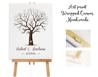 Art print wrapped canvas + 3 ink pads - Wedding Tree Guest Book - Fingerprint -  Thumb Tree  -  20- 100 guests - Tree print - Canvas print