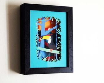 Toucan print - bird - Tropical art - Jungle - Bird - Toucan - Papercut print - Toucan Illustration - tropical- Paper -