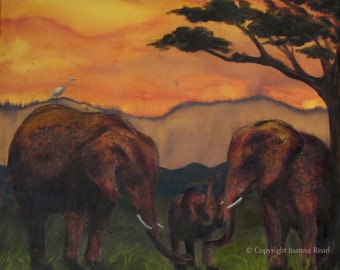 The Sisterhood, triptych, I of III, mixed media painting - Elephant art - limited edition archival print