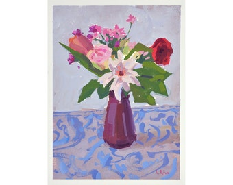 Original Gouache Painting - Still Life with Flowers in a Vase - FREE SHIPPING WORLDWIDE