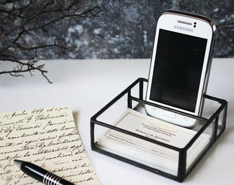 Universal cell phone stand & business card holder, Industrial design, Minimal holder for desk, Clear glass office organizer, Gift for him