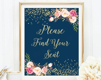 Please Find Your Seat Sign, Wedding Seating Sign Printable, Find Your Seat, Find Your Seat Sign, Gold Foil Sign, Printable Wedding Seat Sign
