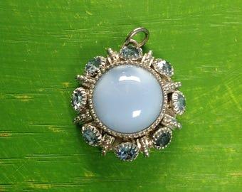 Vintage Avon Blue Moonglow Rhinestone Pendant Retro