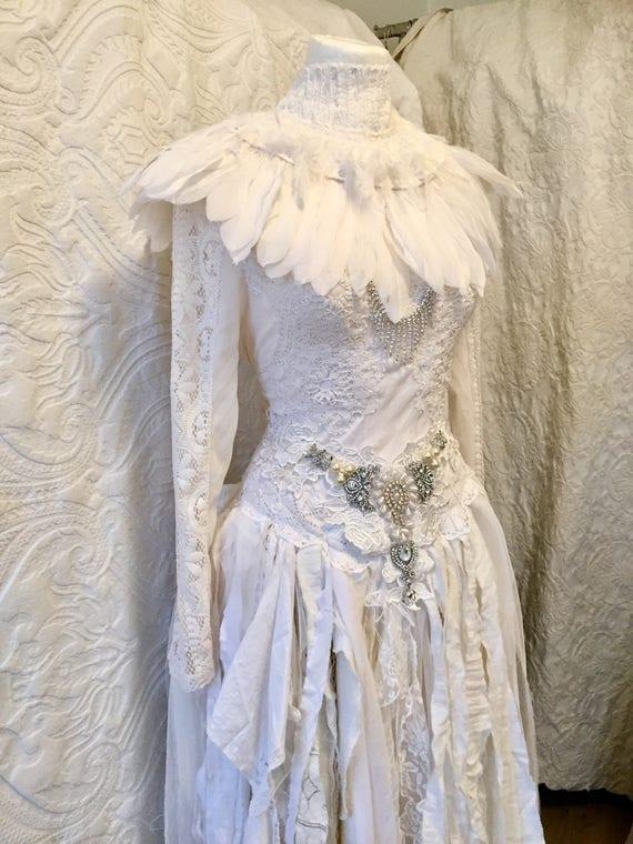 Gothic Wedding Dress With Feathers Steampunk Dresslace Dresswitches Dressvampire Dresslong