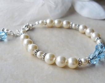 Swarovski Pearl and Crystal Bracelet Flower Girl Weddings First Communion B163