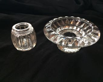Two Vintage Pressed Glass Candle Holders, Glass Candleholders, Glass Candlesticks, Home Decor - 1980