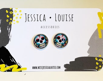 Pink & Blue Sugar Skull Studs / Mexican Day Of The Dead Studs / Sugar Skull Earrings / Sugar Skull Studs / Day of The Dead Earrings