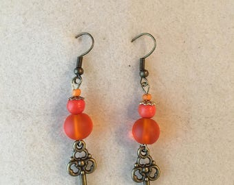 Orange Bead Key Charm Earrings