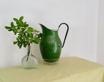 Green Enamel Pitcher, Water Pitcher, French Boudoir, Pouring Jug, 1960s, Country Kitchen