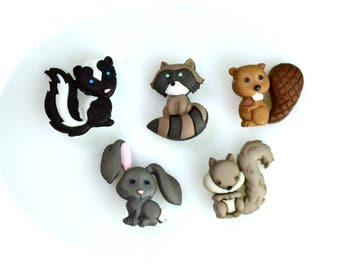 Miniature Woodland Animals Buttons ~ Terrarium Accessories ~ Decorate your Terrarium or Mini Garden ~ Fairy Garden supplies ~ Animal Buttons