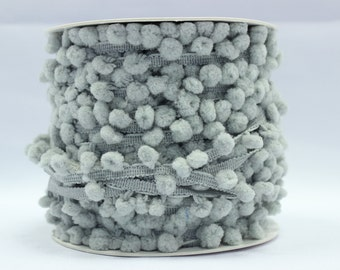 Grey pom pom trim - 5m, grey pom poms, grey trimmings, sewing trim, haberdashery,