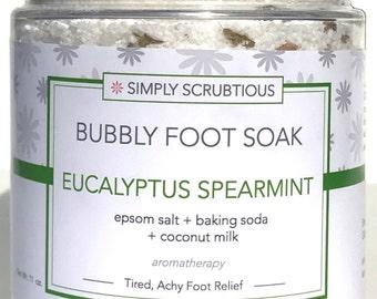 MINT EUCALYPTUS Bubbly Foot Soak-Aromatherapy Foot Soak-Foaming Foot Soak-Detoxing Foot Soak- 6 oz.