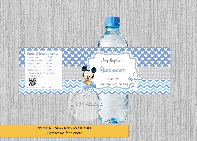 Etiquetas de la botella de agua de bautismo de bebé Mickey