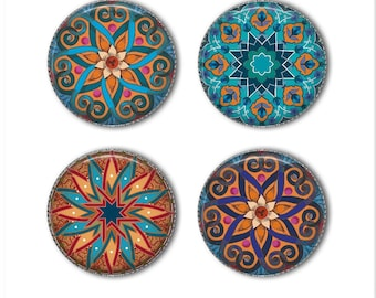 Mandala magnets or mandala pins, refrigerator magnets, office magnets, fridge magnets (2)