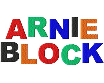 """Arnie Block Machine Embroidery Font - Sizes 1"""",2"""",3"""",4"""" BUY 2 get 1 FREE"""
