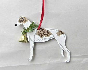 Hand-Painted GREYHOUND White FAWN BRINDLE Wood Christmas Ornament...Artist Original, Christmas Tree Ornament Decoration