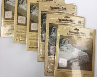 WonderArt Quilt Blocks to Embroider Kit 1982 Sweetheart for a full/queen quilt