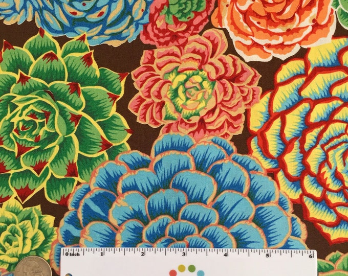 SUCCULENTS Natural World Red Green Blue Orange Brown Floral Quilt Fabric - by the Yard, Half Yard, or Fat Quarter Fq by Snow Leopard Designs