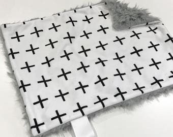 Grey Plus Sign Baby Boy MINKY Lovey Blanket, MINI Minky Baby Boy Blanket, Taggie Blanket, Woodland Cross Baby Shower Gift