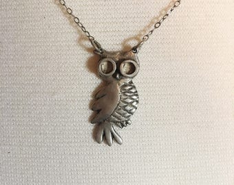 Free Shipping Sterling Silver Owl Necklace, Vintage OOAK, 925 Silver