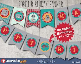 Robot Birthday Party Banner PRINTABLE / Robots Birthday Printables / Any Age Banner / Red / Teal / Orange / Grey /  Robot Banner / No. 006