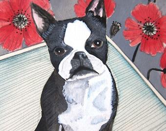 Art - Original Painting - Dog Painting - Dog Portrait - Boston Terrier Art - Boston Terrier Painting - Boston Terrier Art - Chloe