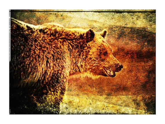 RUSTIC GRIZZLY Grizzly Bear Rustic Painting Wall
