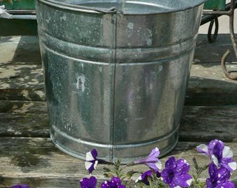 No.2 Vintage 12 Qt Galvanized Metal Décor Farm Grain Bucket Planter Pail SPRING is Coming