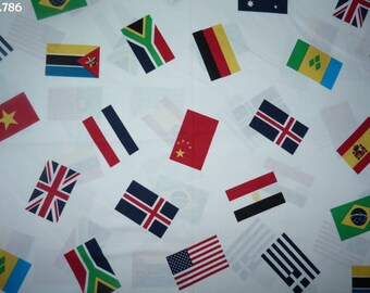 Fabric C786 flags on white coupon 35x50cm