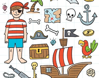 Doodle pirate clipart - Hand drawn instant download PNG graphics - 0003