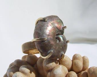 Ammonite Ring, Fossil Ring, iridescent nautilus, raw stone, shell jewelry