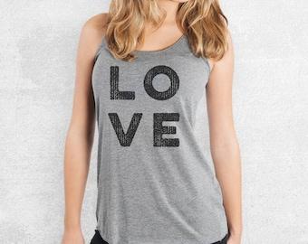 LOVE Racerback Tank - 7 Color Options - Women's shirt, Typography Shirt, Love Tank Top, Love Gym Shirt, Love Gym Tank Top, Gym Racerback